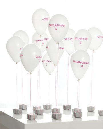 More balloon escort card ideas.