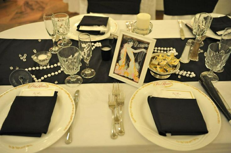 Table decor roaring20s roaring 20 39 s pinterest for 20s party decoration ideas