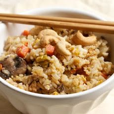 Vegetarian fried rice with shiitakes and cashews!