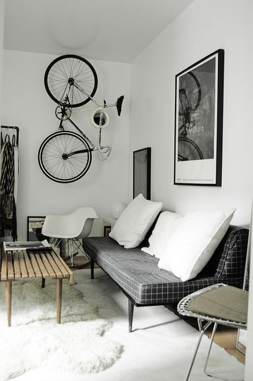 charcoal + white living room - hanging bike