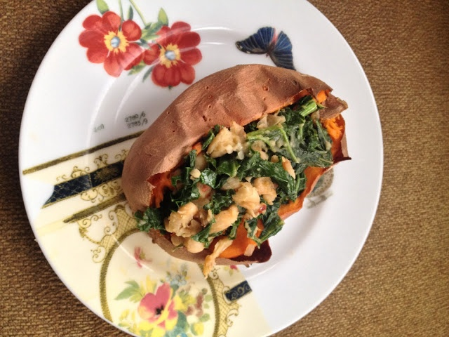 sweet potato stuffed with kale and white beans - amazing weeknight ...
