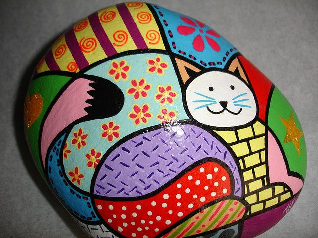 cat painted stone