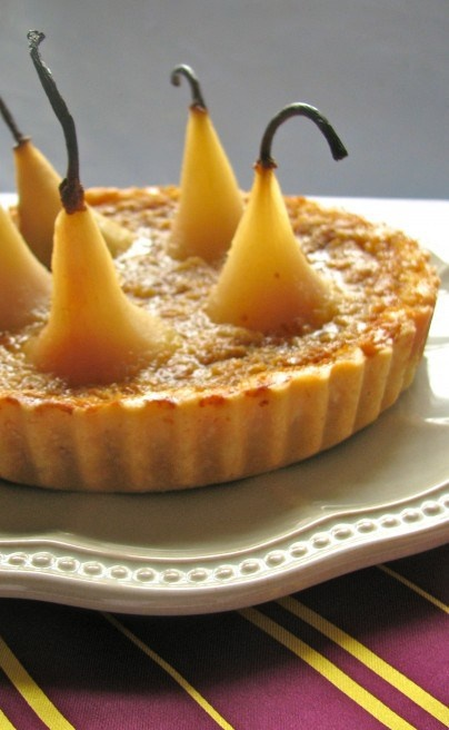 Ginger Pear Treacle Tart with Lemon-Almond Poached Pears