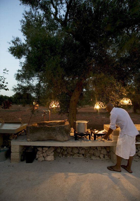 Outside kitchen at home of Marco & Francesca Rapana, Italy.