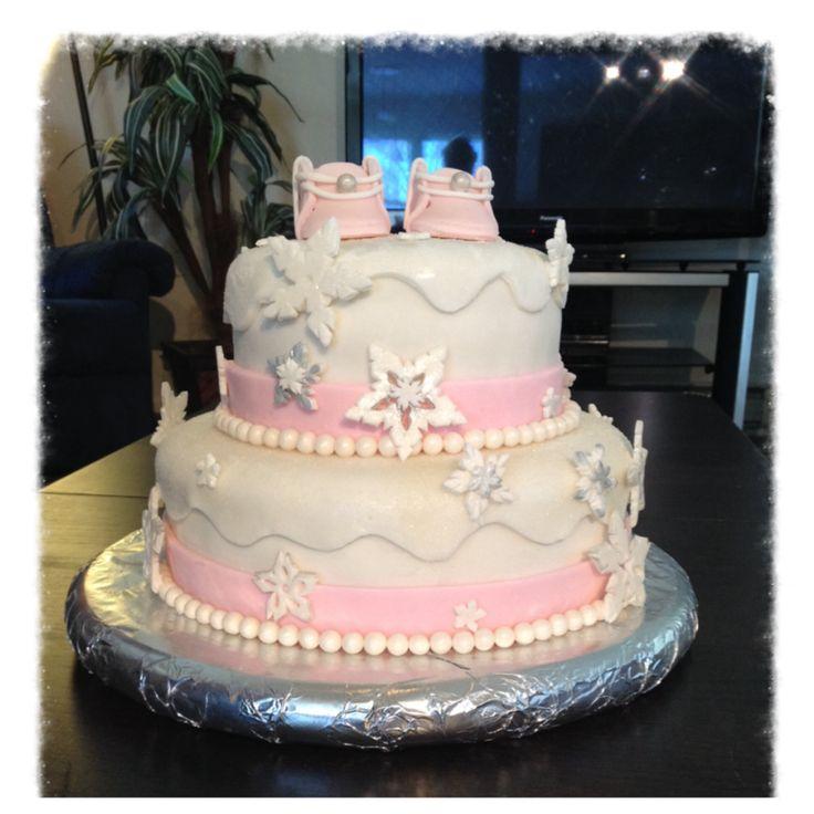 baby shower cake girls winter wonderland theme with edible snowflakes