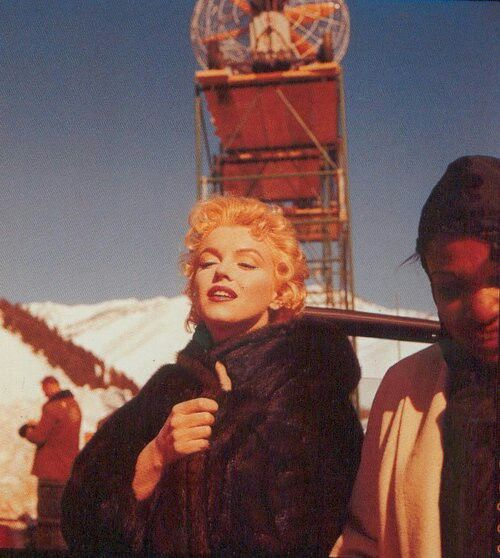 """Marilyn on the set of """"Bus Stop"""". Photo by Milfon Greene, 1956."""