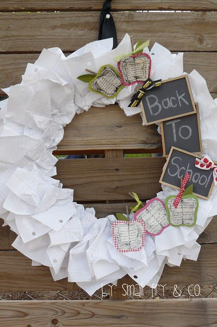 ADORABLE back to school wreath. Made with paper and special touches, you have to check this out and make one yourself. Complete with great tutorial!