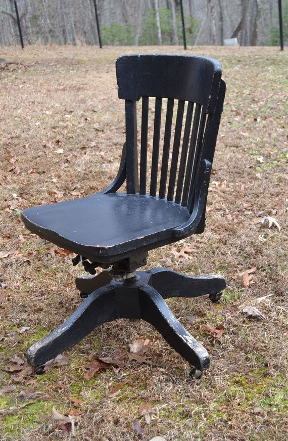 Vintage Wood Oak Office Chair Swivel Wheels Marble By PanchosPorch