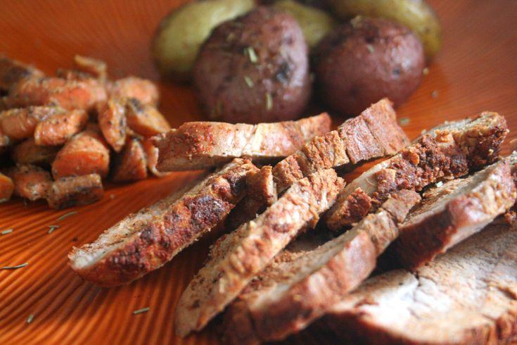 ... pork tenderloin w. glazed carrots & rosemary-chili fingerling potatoes