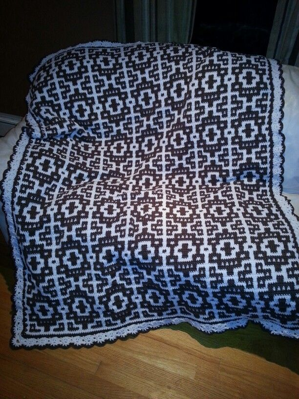 Free Crochet Mosaic Afghan Pattern : Crocheted mosaic afghan done! :) crochet patterns ...