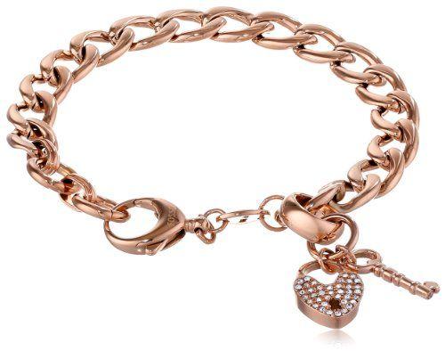 Fossil Link Charm Rose Gold Bracelet | Link | Pinterest