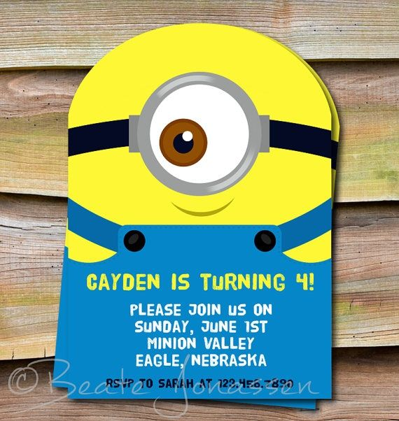 Despicable Me Invitations 5 | Printable Despicable Me Inspired Birthday by ... | Despicable me...