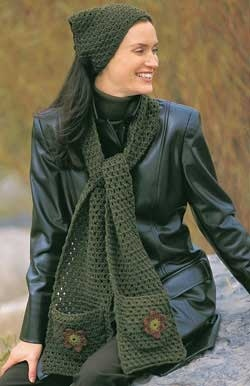 Free Crochet Scarf with Pockets Pattern. Crafts Pinterest