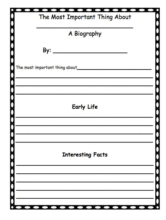 First grade biography template after reading the important book by