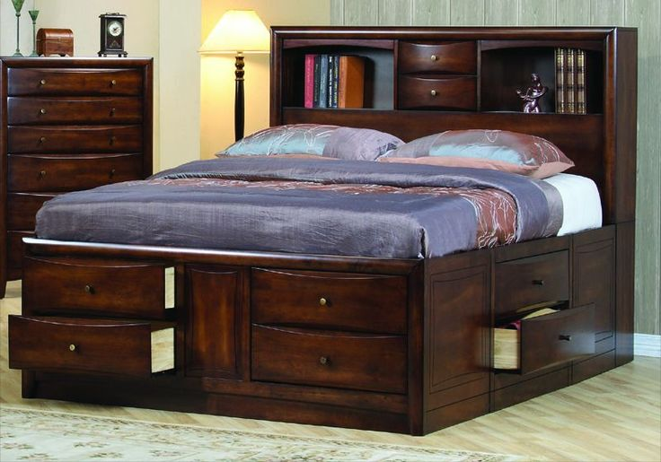 Hillary King Size Bedroom Storage Bed Brown Wood Frame