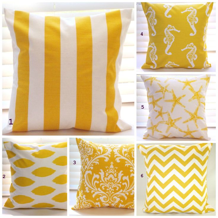 Pillow Cover, Pillow, Decorative Throw Pillow, Beach Decor, Coastal Decor, Yellow Pillows ...