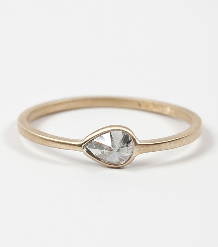 grey diamond teardrop ring, www.catbirdnyc.com