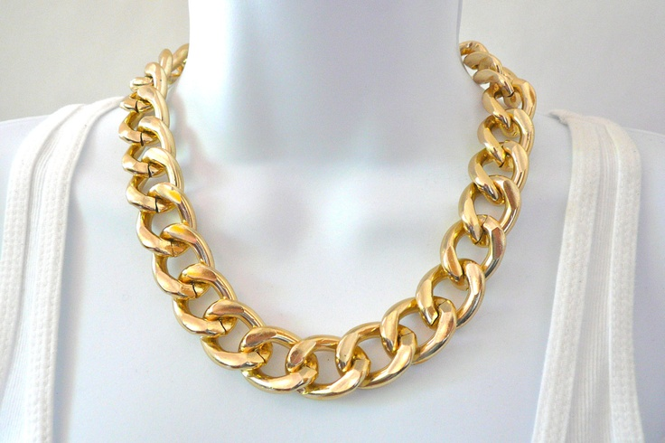 chunky gold chain link necklace my closet pinterest