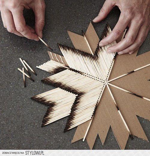 Декоративна звезда от… изгорели кибритени клечки