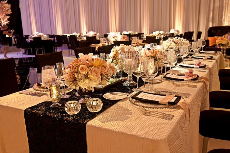 Luxe tablescape with black, ivory and blush color palette