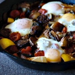 Slow braised tomatoes and chard with sausage and poached eggs. Healthy ...
