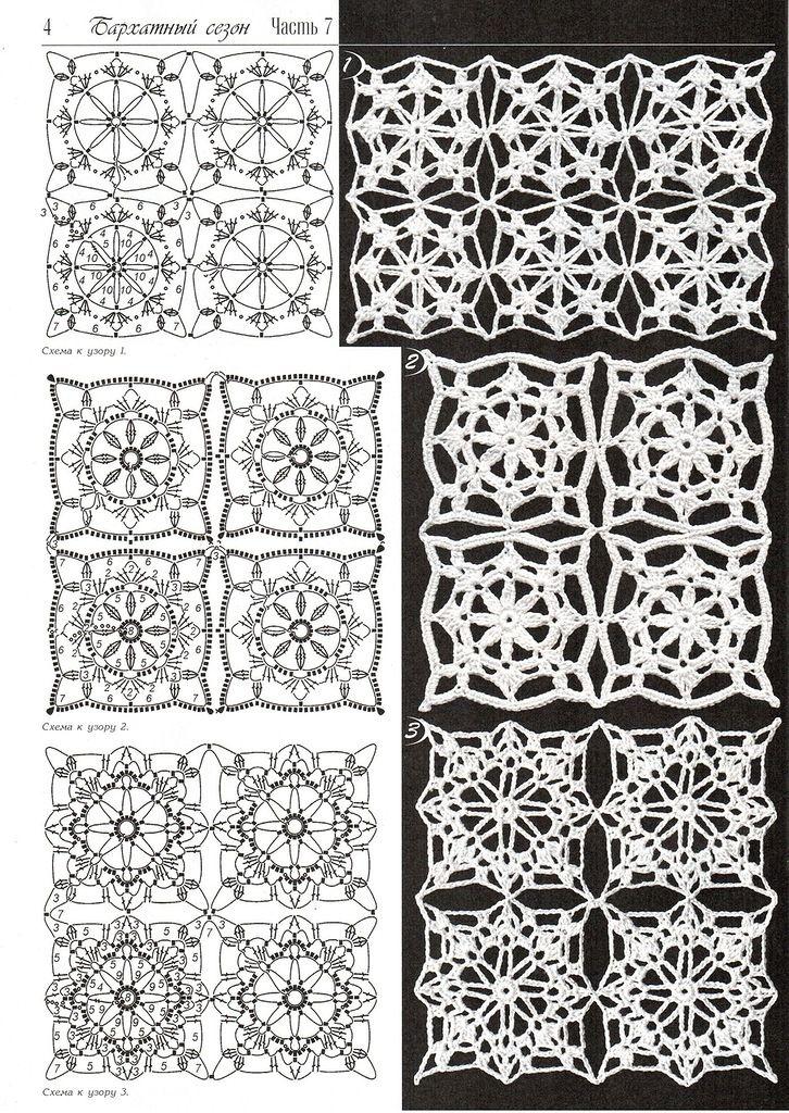 Duplet crochet magazine - 3 motifs with diagrams