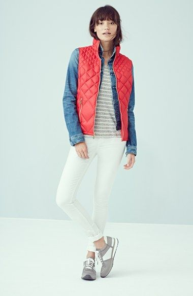 MICHAEL Michael Kors Down Vest, Halogen® Sweater & NYDJ Skinny Ankle Jeans  available at #Nordstrom