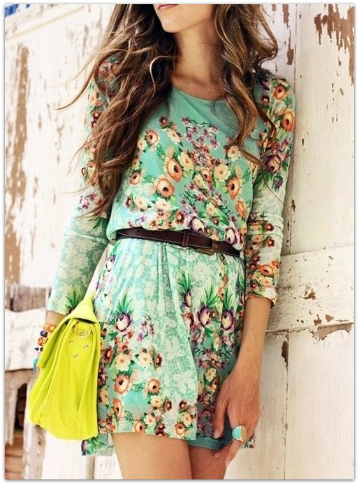 Slouchy floral print dress with long sleeves