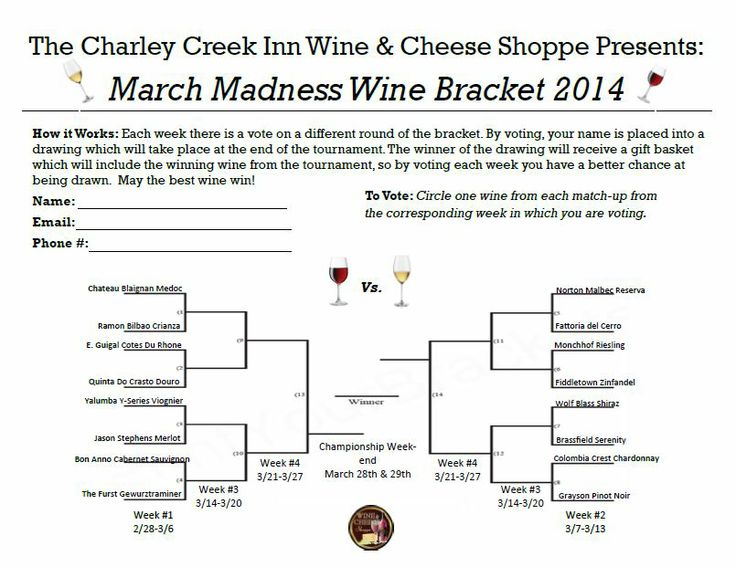 Wine Bracket for March Madness | Wine & Cheese Shoppe Information | P ...