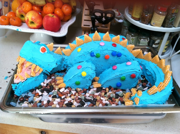 My Dinosaur Cake, two 9-inch rounds, cut, Chocolate rocks, M & M spots ...