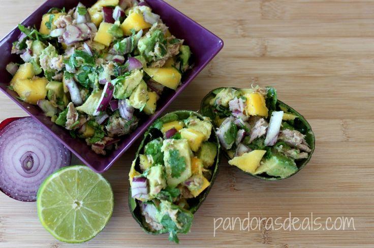 ... Pepper Tuna Salad With Mango, Cilantro & Lime Served in Avocado Halves