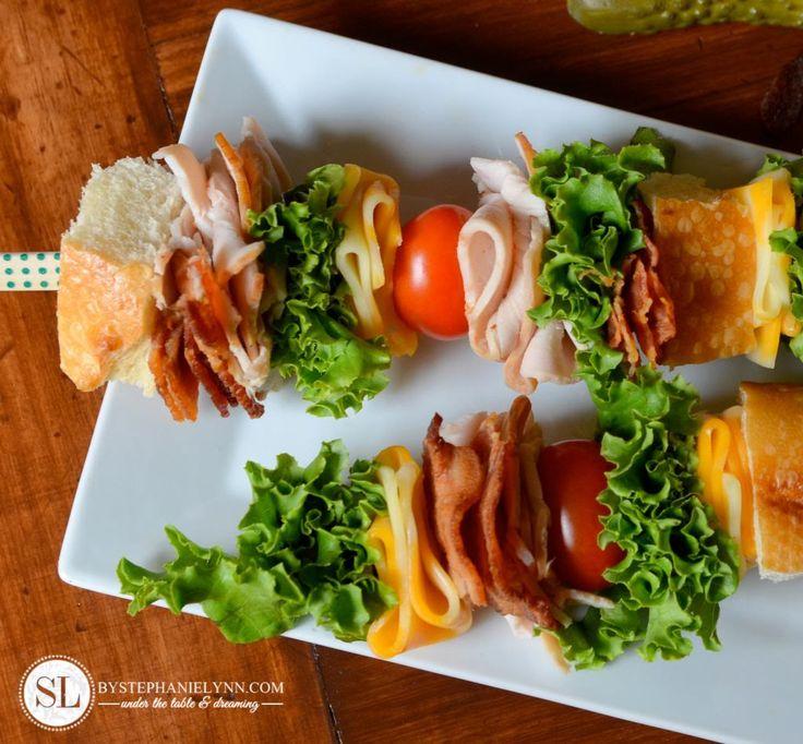 Classic Club Sandwich Recipe - sandwich on skewers