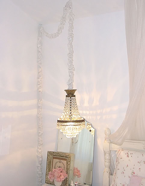 white chandelier cord cover my creative side pinterest. Black Bedroom Furniture Sets. Home Design Ideas