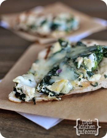 melskitchencafe.com: Spinach Artichoke Pizza