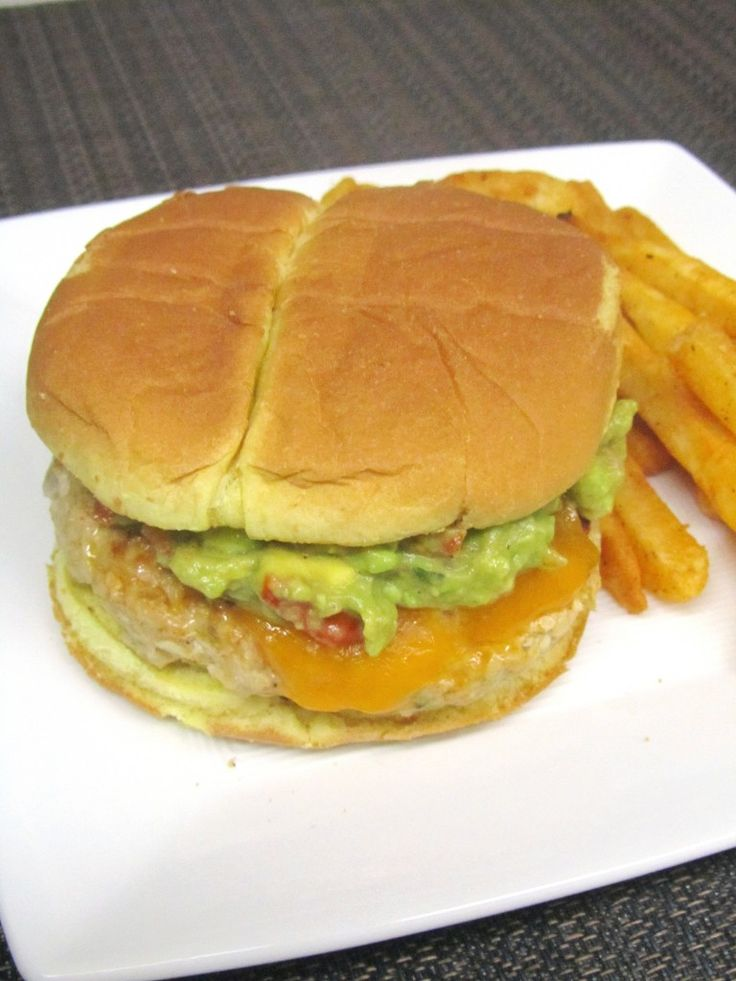 Jalapeno Cheddar Chicken Burgers with Guacamole