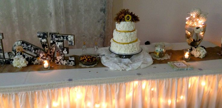 Cake table th anniversary party pinterest