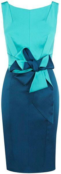 Karen Millen Beautiful Satin Dress in Blue (turquoise)