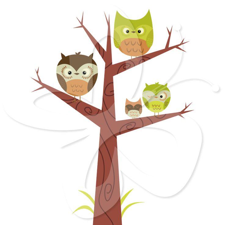 Owl Tree Clip Art $4 | Woodland Themed Clip Art Sets | Pinterest