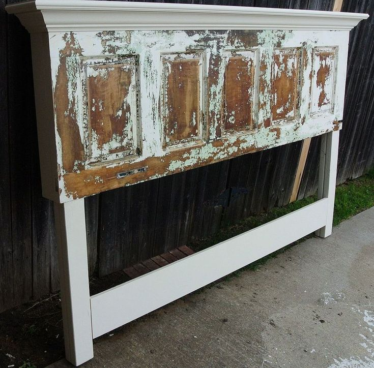 Old door headboard made for a king size bed - Headboard made from old door ...