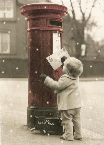 Sending his letter to Santa...