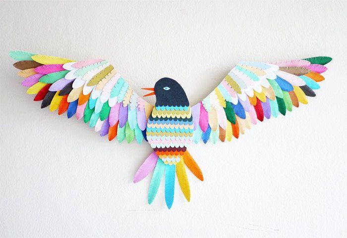 Как сделать из цветной бумаги птиц