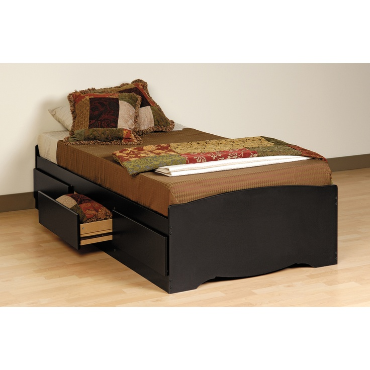 Black twin mate 39 s composite wood platform storage bed with for Wood twin bed with storage