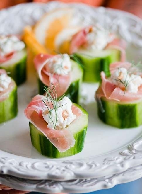 Cucumber, prosciutto, chive, goat cheese | Food | Pinterest