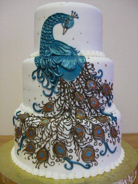 Elegant peacock cake