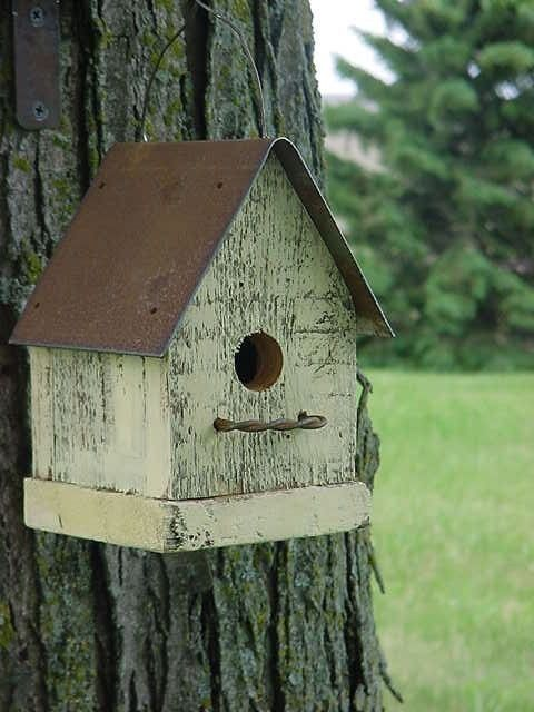 Rustic yellow birdhouse cottage beach french country for Simple birdhouse
