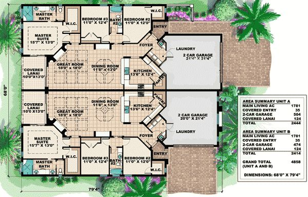 Mediterranean multi family house plan for Multi family house plan