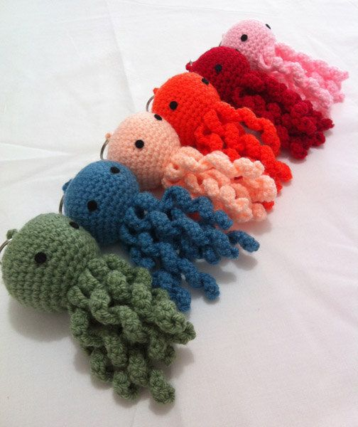 Crochet Keychain : Batch Octopus 6 colors crochet keychain by SandizCraft on Etsy, $27.00