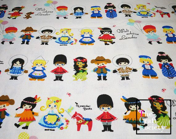 Beautiful children of the world bold colorful linen fabric fat