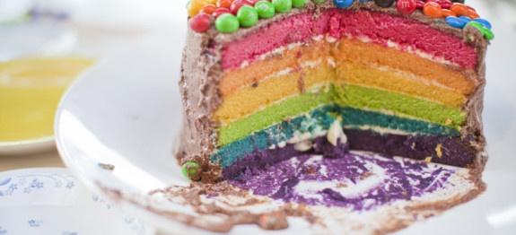 Double rainbow Vanilla Buttermilk cake | Over the Rainbow Baby Shower ...