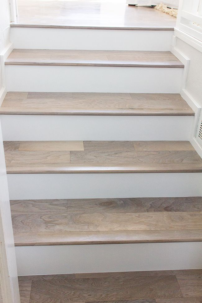Hardwood flooring as treads staircase pinterest for Hardwood floors on stairs